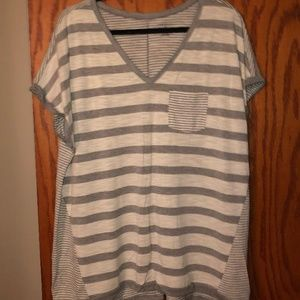 Lane Bryant | Grey & White Stripe Tee | Size 18/20